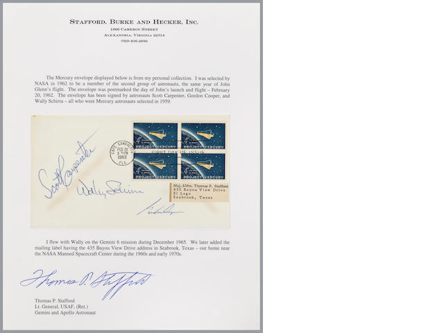 GLENN'S FLIGHT – FIRST DAY OF ISSUE MERCURY POSTAL COVER – SIGNED.