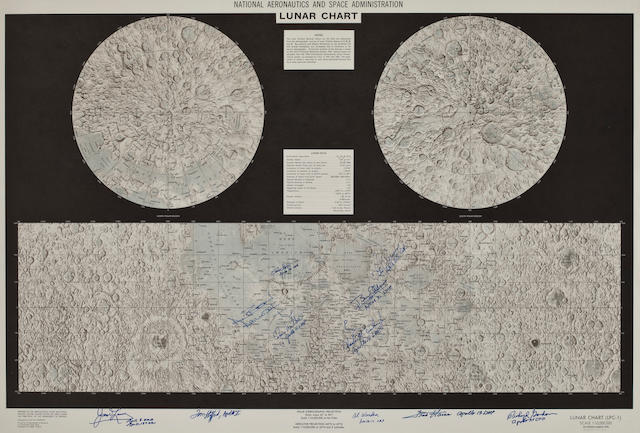 "LARGE CHART SIGNED BY 11 LUNAR VOYAGERS. INCLUDING MEMBERS OF ALL SIX LUNAR LANDINGS.  ""National Aeronautics and Space Administration Lunar Chart (LPC-1)."""