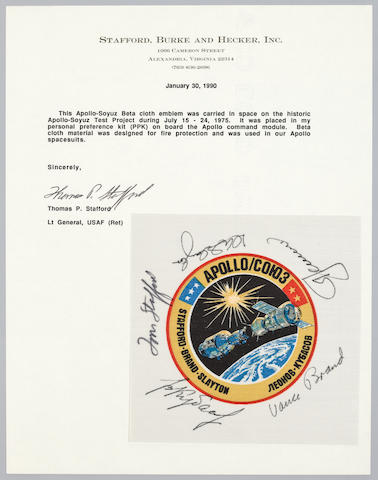 STAFFORD'S ASTP FLOWN BETA CLOTH. SIGNED BY ASTRONAUTS AND COSMONAUTS.  Flown Apollo Soyuz crew emblem, 3½ inches in diameter.