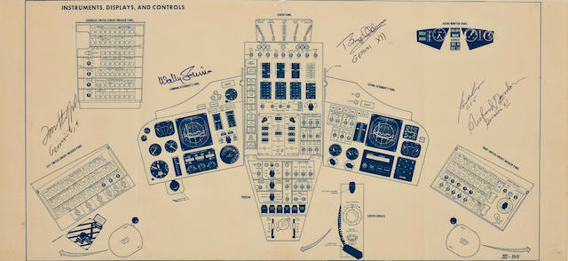 GEMINI INSRUMENT CONTROL PANEL BLUERPRINT – SIGNED BY FIVE SPACE PILOTS.