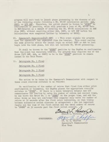ROGER B. CHAFFEE SIGNED LAUNCH SEQUENCE EVENTS MEMO.