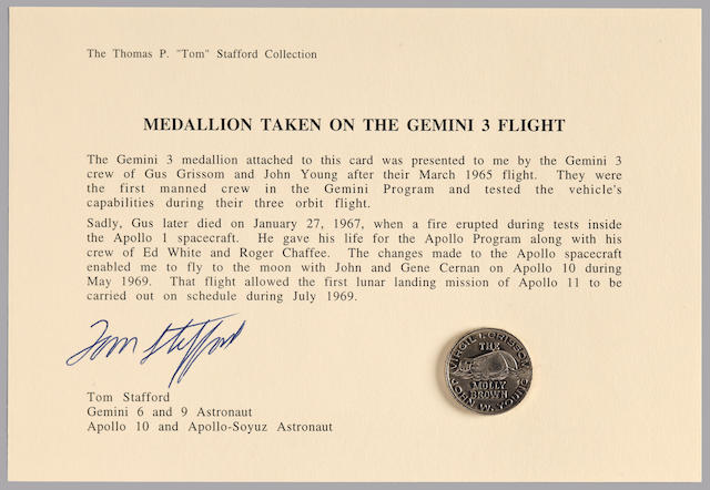 STAFFORD'S GEMINI 3 MEDALLION, FROM THE CREW. THE FIRST GEMINI MEDALLION TO BE FLOWN IN SPACE.