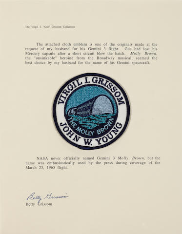 GUS GRISSOM'S GEMINI 3 MISSION EMBLEM. Cloth crew mission emblem,