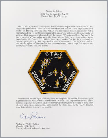 SCHIRRA'S FLOWN GTA-6 MISSION EMBLEM. CARRIED ON THE FIRST MANNED RENDEZVOUS MISSION.
