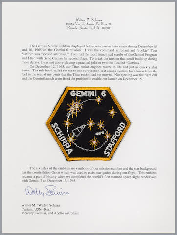 "SCHIRRA'S FLOWN GEMINI 6 MISSION EMBLEM. ""GOTCHA"" MASTER FLIES BY THE SEAT OF HIS PANTS!"