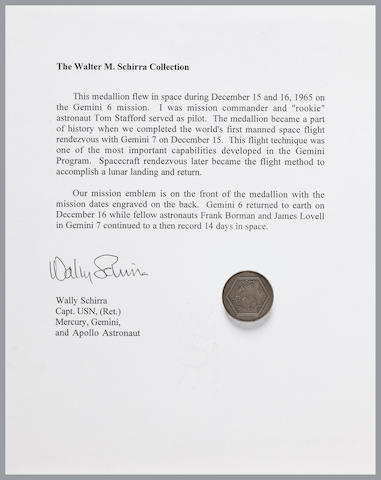 SCHIRRA'S FLOWN GEMINI 6 MEDALLION. Flown Gemini 6 sterling silver medallion,