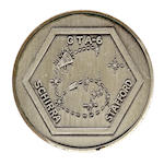 SCHIRRA'S FLOWN GEMINI 6 MEDALLION. Flown Gemini 6 sterling silver medallion,