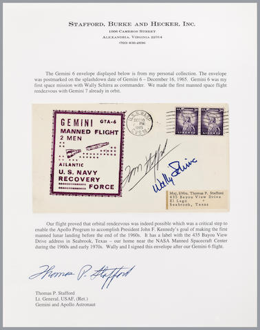 STAFFORD'S GEMINI 6 RECOVERY COVER. Postal envelope with US Navy Recovery Force rubber stamp cachet.