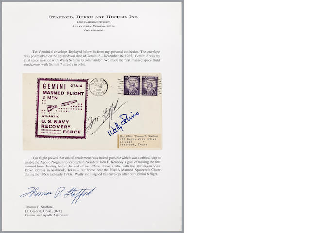 STAFFORD'S GEMINI 6 RECOVERY COVER – CREW SIGNED.