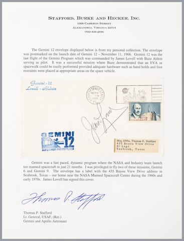 STAFFORD'S GEMINI 12 LAUNCH COVER—SIGNED. Postal envelope with a NASA rubber stamp cachet.