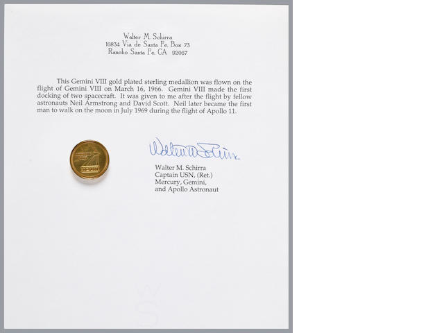 SCHIRRA'S MEDALLION CARRIED ON GEMINI 8 – FROM NEIL ARMSTRONG.