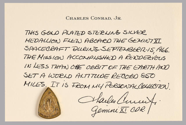 CHARLES CONRAD'S MEDALLION CARRIED ON GEMINI 11.