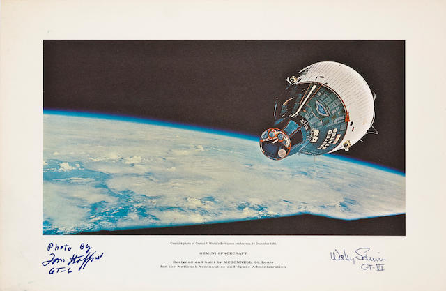 PHOTOGRAPH OF THE FIRST SPACE RENDEZVOUS - SIGNED.