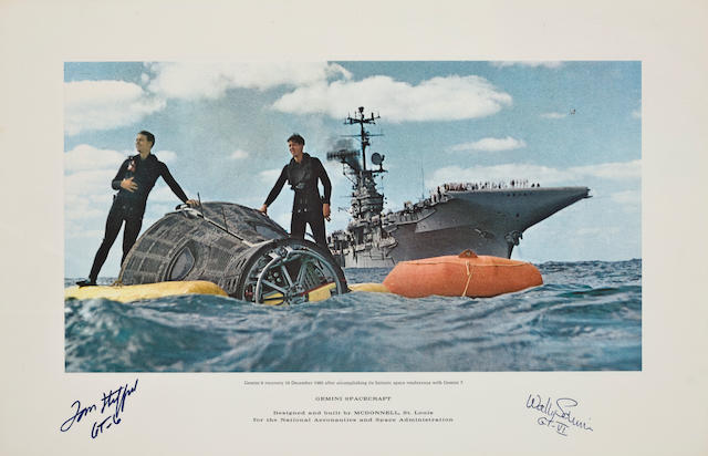 "TWO NAVAL ACADEMY GRADUATES FLOAT IN THEIR GEMINI ""BOAT"" - SIGNED."
