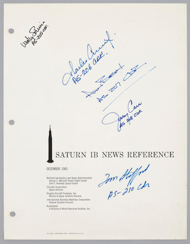"SIGNED BY EVERY ""IB"" COMMANDER. Saturn IB New Reference. NASA MSFC, NASA KSC, Chrysler, Douglas, IBM, and Rocketdyne, December, 1965."