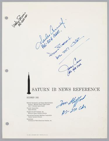 "SIGNED BY EVERY ""IB"" COMMANDER. Saturn IB New Reference. NASA MSFC, NASA KSC, Chrysler, Douglas, IBM, and Rocketdyne, December, 1965."