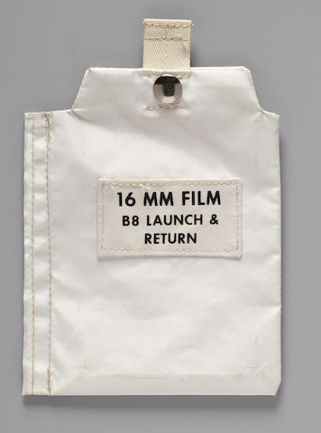 COOPER'S 16 MM FILM STOWAGE BAG. LETTER DESCRIBES HIS APOLLO TRAINING EXPERIENCES.