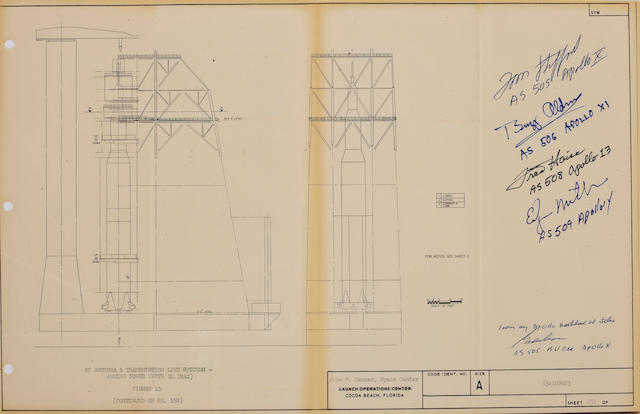 COOPER'S SATURN V BLUEPRINT. SIGNED WITH SATURN VEHICLE NUMBERS.