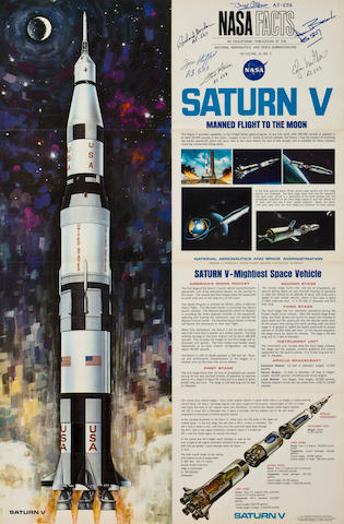 SATURN V POSTER—SIGNED. Saturn V, Manned Flight to the Moon. NASA Facts (NF-33). Washington: GPO, 1967.