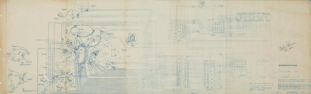 "SCHIRRA'S MERCURY REDSTONE PAD BLUEPRINT. ""Hunts Hangar & Redstone Pad Routing Chart Schematic, Redstone Pad, Capsule 15, 16, & 17,"" blueprint, McDonnell Aircraft Corporation, Saint Louis, MO, c.1960."