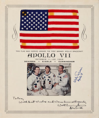 UNITED STATES FLAG CARRIED ON APOLLO 7. Flown United States flag,