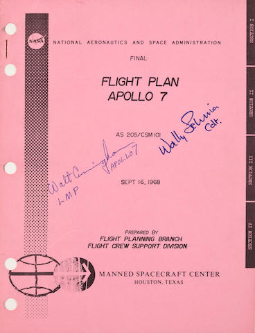 1st FLIGHT – LAST FLIGHT, 1st MANNED APOLLO FLIGHT PLAN – SCHIRRA'S LAST FLIGHT