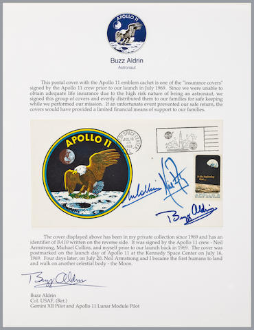 LIFE INSURANCE FOR THE APOLLO 11 FAMILIES – A CREW SIGNED LAUNCH POSTAL COVER