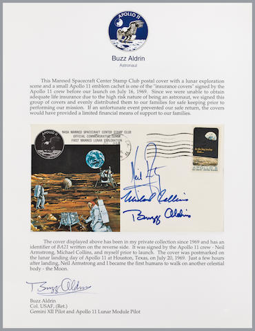 CREW-SIGNED LUNAR LANDING POSTAL COVER. LIFE INSURANCE FOR THE APOLLO 11 FAMILIES.  Apollo 11 Life Insurance Cover
