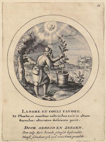 [VAN DE PASSE, CRISPIJN. ca. 1565-1637.] Emblemata Selectiora. Typis Elegantissimis Expressa, Nec Non Sententiis, Carminibus, Historiis ac Proverbiis [etc].  Amstelaedami: Franciscum vander Plaats, 1704.<BR />
