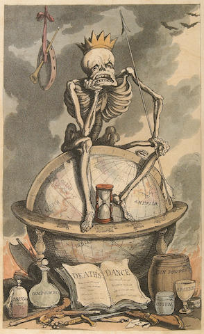 ROWLANDSON, THOMAS. [COMBE, WILLIAM]. The English Dance of Death, Volumes I and II [and] The Dance of Life. London: R. Ackermann, 1815-16, 1817.<BR />