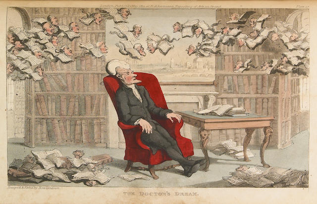 ROWLANDSON, THOMAS; WILLIAM COMBE.  The Tour of Doctor Syntax in Search of the Picturesque; The Second Tour of Doctor Syntax, In Search of Consolation; The Third Tour of Doctor Syntax, In Search of a Wife.    London: R. Ackermann, 1812-20-[21].<BR />