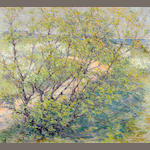 Robert Reid, Autumn landscape, indistinctly signed l/l, o/c, 26 x 29in