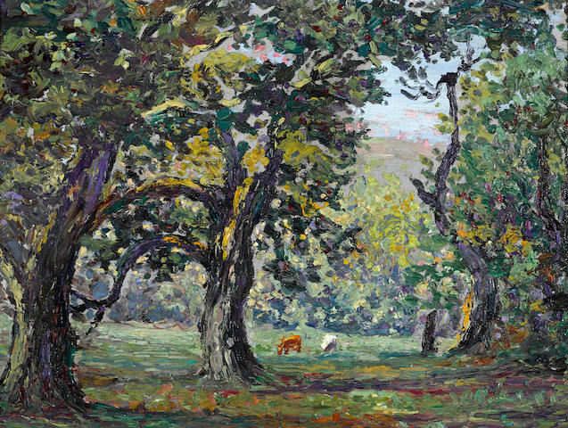 Joseph Raphael (American, 1869-1950) Orchard in Uccle 11 1/2 x 15 1/2in