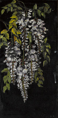 George Cochran Lambdin (American, 1830-1896) Wisteria 24 x 12in