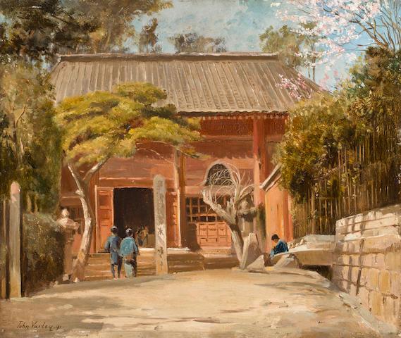John Varley Jnr. (British, 1850-1933) Temple at Tomachi, Tokyo 11 x 13in (28 x 33cm)