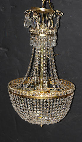 A Belle Epoque style gilt metal and glass six light chandelier second half 20th century