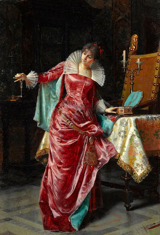 Pio Ricci (Italian, 1850-1919) Choosing a necklace 16 1/2 x 12in (42 x 30cm)