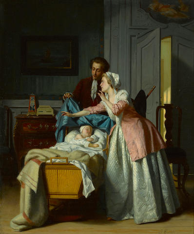 Jean Carolus (Belgian, 1814-1897) Hush 26 1/2 x 21 1/2in (67.3 x 54.6cm)