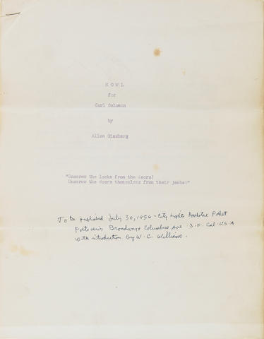 GINSBERG, ALLEN. 1926-1997. Howl, for Carl Solomon. [San Francisco State College: typed by Robert Creeley and dittoed by Marthe Rexroth, May 16, 1956.]