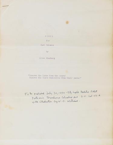 GINSBERG, ALLEN 1956 Mimeo of Howl