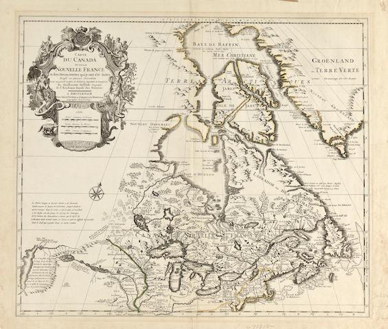DE L'ISLE, GUILLAUME. Carte du Canada ou de la Nouvelle France et des Decouvertes qui y ont ete Faites Dressee sur Plusieurs Observations. Amsterdam: Covens & Mortier, [c.1730].