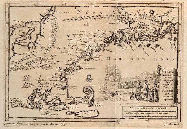 [SMITH, CAPTAIN JOHN. 1580-1631.] VAN DER AA, PIETER. Twee Scheeps-Togten Van Kapiteyn Johan Smith, Beyde gedaan na Nieuw-England [etc]. Leyden: Pieter Vander Aa, [1707].