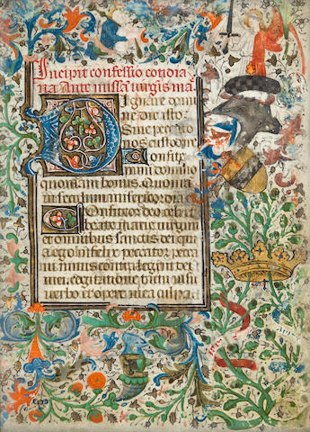 ILLUMINATED MANUSCRIPT LEAF. Single leaf from a Book of Hours, 8vo (135 x 95 mm), France, 15th century,