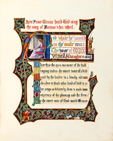 CALLIGRAPHY. [TENNYSON, ALFRED LORD, AND JOHN KEBLE.] Idylls of the King and Morning. [England, c.1870]