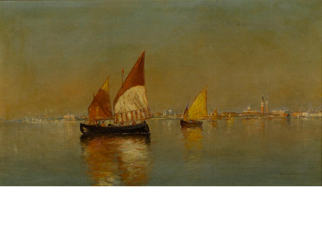 Warren W. Sheppard (American, 1858-1937) Fishing boats in the Venetian Lagoon 14 x 24 1/4in (35.5 x 61.5cm)