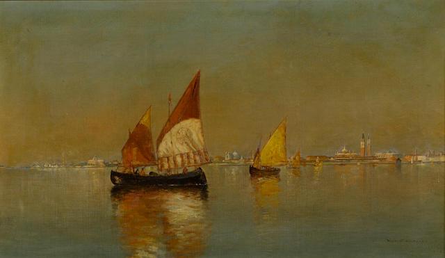 Warren W. Sheppard (American, 1858-1937) Fishing boats in the Venetian Lagoon 14 x 24 1/4in (35.5 x 61.5cm)