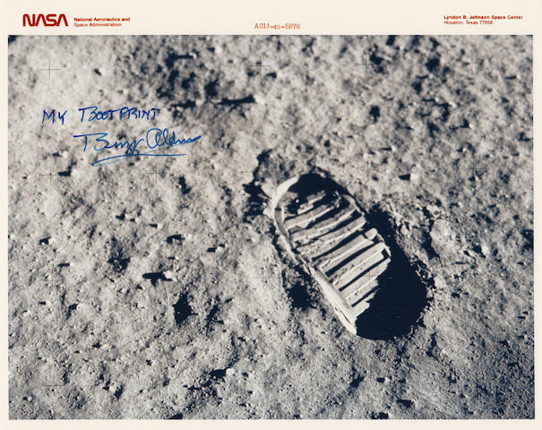 BOOTPRINT ON THE MOON. Color photograph,