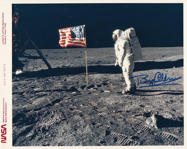 OLD GLORY—STARS AND STRIPES ON THE MOON. Color photograph,
