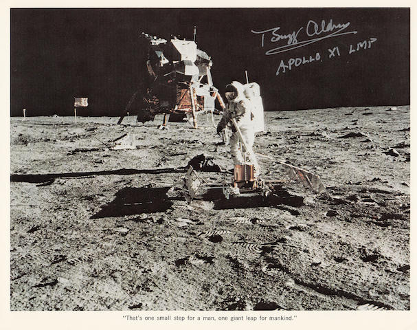 TRANQUILITY BASE EXPLORATION. Color photolithograph, 8 x 10 inches. Descriptive text along the lower margin.