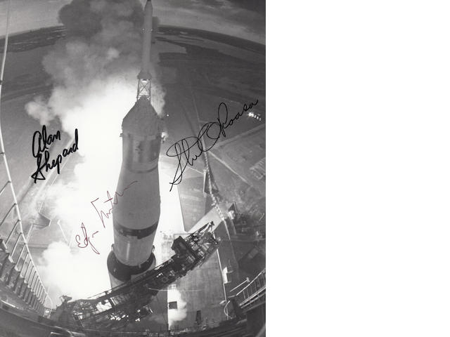 BOUND FOR THE MOON, THE LAUNCH OF APOLLO 14 – CREW SIGNED